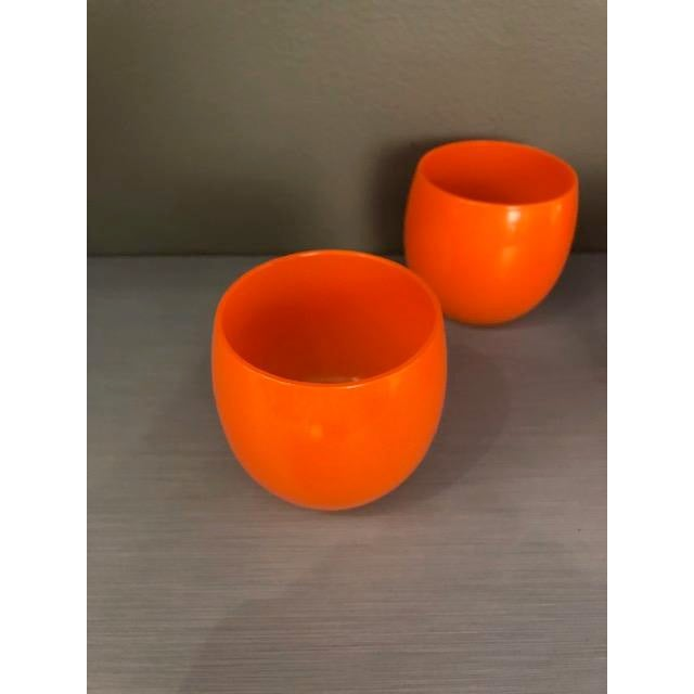 Mid-Century Modern Mid-Century Hand Blown Orange Cocktail Glasses - Set of 4 For Sale - Image 3 of 7