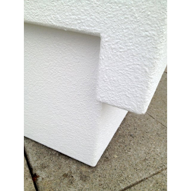 Architectonic Textured Plaster Side Tables, Pair - Image 7 of 7