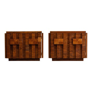 1960s Mid-Century Modern Lane Mosaic Brutalist Nightstands-a Pair For Sale