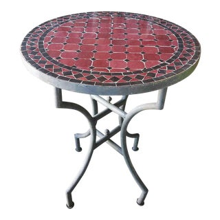 Black & Burgundy Moroccan Mosaic Table For Sale