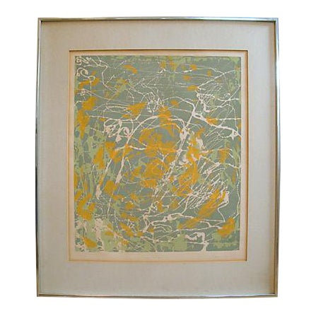 """Abstract Monoprint Painting, """"New York 1:00 Am,"""" 1976 For Sale"""