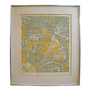 """Mid-Century Abstract Painting Monoprint, """"New York 1:00 Am"""" For Sale"""
