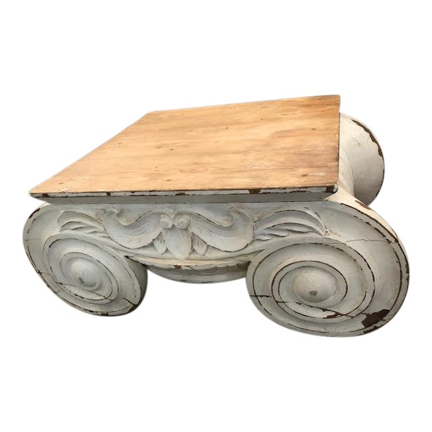 Restoration Hardware Distressed Ionic Capital Coffee Table For Sale