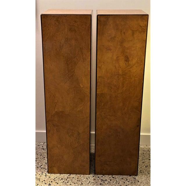 Contemporary Vintage Drexel Heritage Pedestals Burlwood Restored - a Pair For Sale - Image 3 of 11
