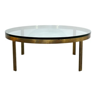 Mid Century Modern Mastercraft Bronze & Glass Round Coffee Table 1960s For Sale