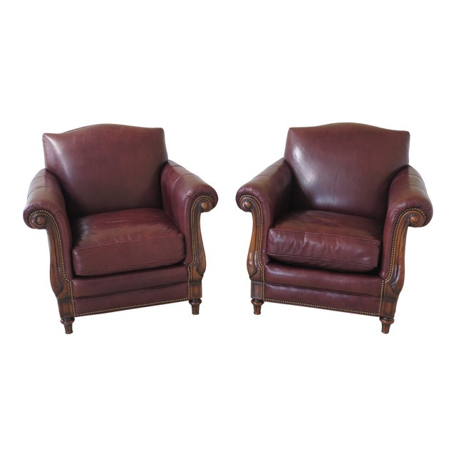 Alexander Taylor Leather & Mahogany Club Chairs- A Pair For Sale