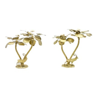 Pair of Palm Tree Table Lamps in Brass With a Deer France 1970s For Sale