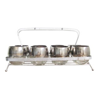 Vintage Dorothy Thorpe Silver Ombre Roly Poly Cocktail Barware Set in Silver Caddy - Set of 8 For Sale
