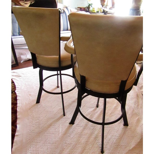 Industrial Industrial Style Iron and Pleather Swivel Bar Stools - a Pair For Sale - Image 3 of 8