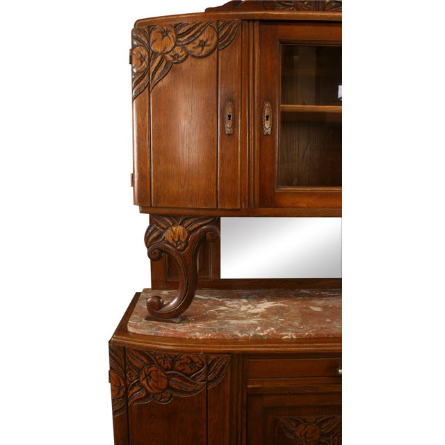 1920 French Art Deco Carved Oak Buffet - Image 4 of 8