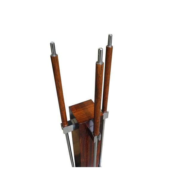 Modern Fire Tool Set in Rosewood and Chrome, Attributed to Danny Alessandro For Sale - Image 3 of 7