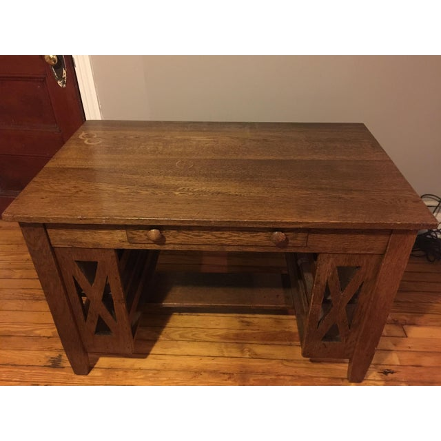 Arts & Crafts Wooden Writing Desk For Sale - Image 4 of 4
