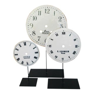 Porcelain & Metal Clock Faces on Stands - Set of 3 For Sale