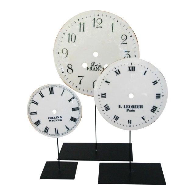 Porcelain & Metal Clock Faces on Stands - Set of 3 For Sale