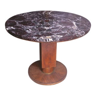 Jules Leleu Signed Coffee Table With a Superb Marble Top For Sale