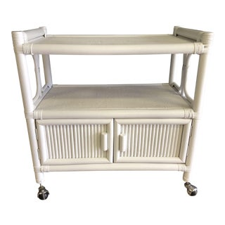 1970 Hollywood Regency Faux Bamboo / Rattan Bar Cart For Sale