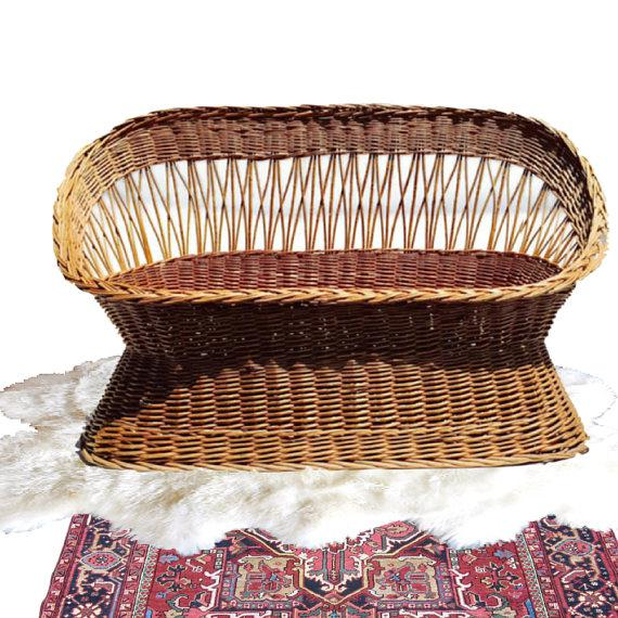 Boho Chic Mid Century Rattan Settee Bohemian Barrel Back Love Seat For Sale - Image 3 of 9