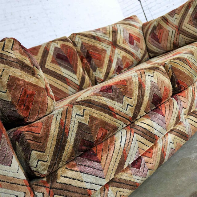 Tuxedo Mod Loveseat Sofa in Jack Lenor Larsen Style Fabric For Sale - Image 10 of 13