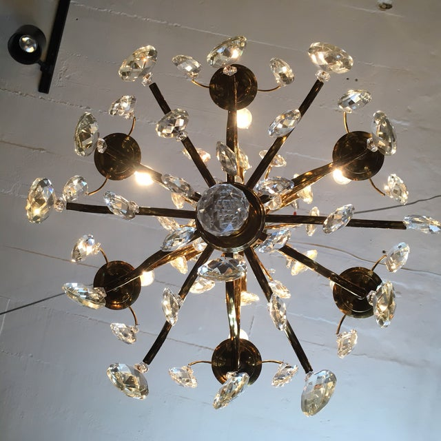 Mid Century Solid Brass Crystal Marie Therese Style French Chandelier 1950s/60s For Sale - Image 4 of 13