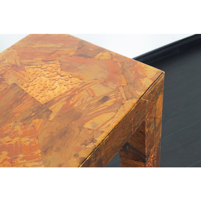 1970s Brutalist Copper Patchwork Console Table For Sale - Image 4 of 11