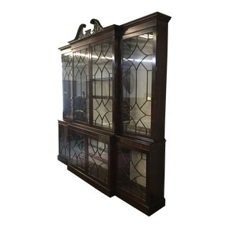 English Mahogany Breakfront Library Bookcase Bench Made For Sale