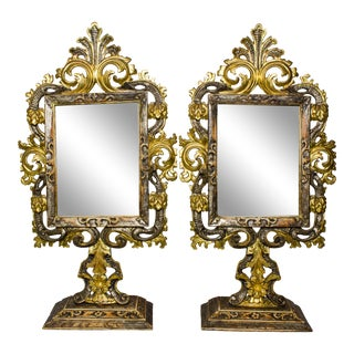 Italian Possibly Venetian Table Mirrors - a Pair For Sale