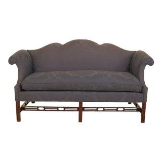 Southwood Blue Damask Chippendale Mahogany Sofa