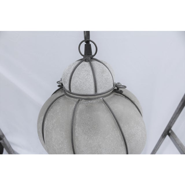 Italian Glass Lantern Frosted Wire Wrapped Lantern For Sale - Image 4 of 6