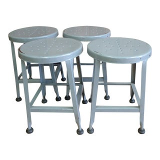Toledo Steel Stools Table Height With Original Grey Paint, Set of Four For Sale