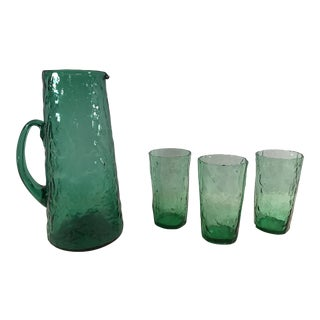 Mid-Century Modern Green Crinkle Glass Pitcher & Tumblers - Set of 4
