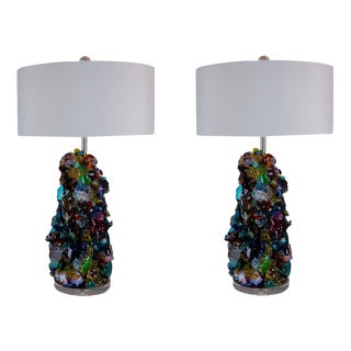 Glass Rock Table Lamps by Swank Lighting Multicolor For Sale