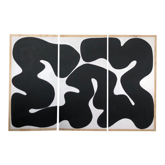 Black and White Run on Abstract Triptych Painting For Sale