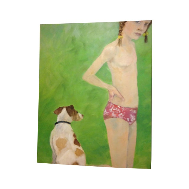 """Lost Girl and Her Dog"" Painting - Image 1 of 5"