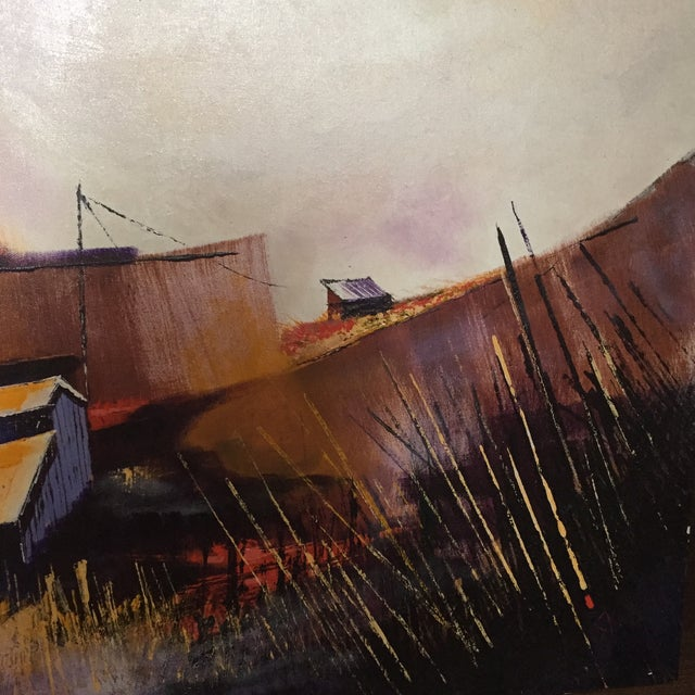 Vibrant Multi Color Mid-Century Modern Country Landscape Farm Barn Farmhouse Painting - Image 9 of 11