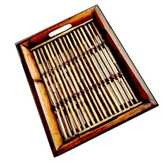 1940s Scorched Tortoise Bamboo Tray With Lifted Gallery Sides & Cut Out Handles For Sale