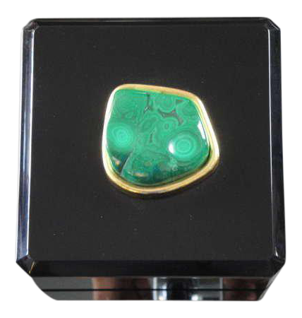Distinguished Malachite and Black Lucite Jewelry Box DECASO