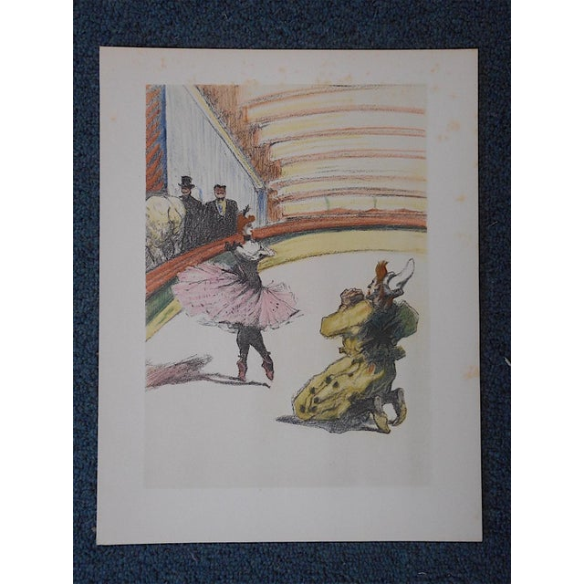 This vintage mid 20th century color lithograph (not an offset lithograph) by Toulouse Lautrec (France 1864-1901) depicts a...