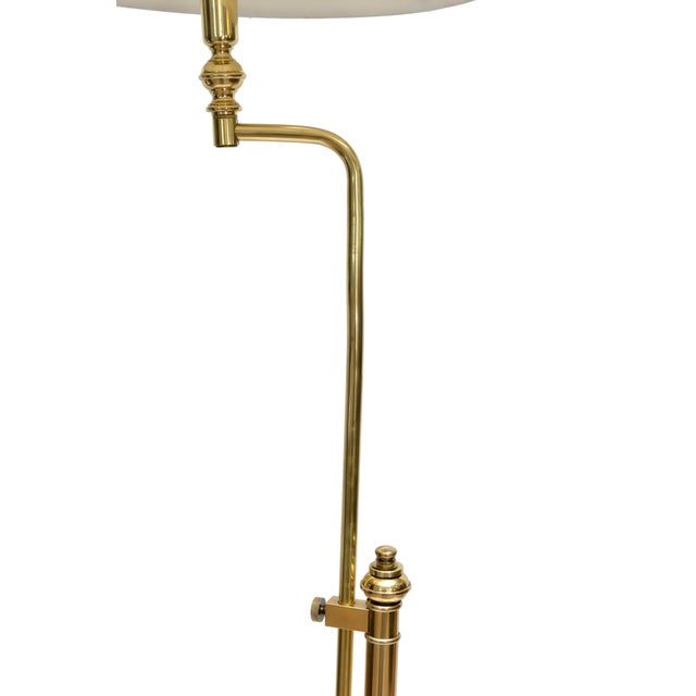 Hollywood Regency Hollywood Regency Tall Swing Arm Brass Floor Lamp with Shade For Sale - Image 3 of 8