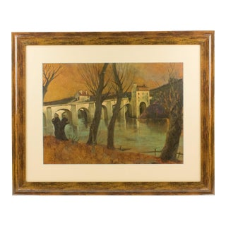 French Middle Age Vaulted Bridge Oil on Wood Painting by Vincent Mazzocchini For Sale