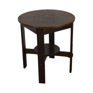 Stickley Antique Mission Oak Round Lamp Table For Sale