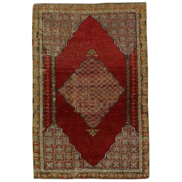 1940s Vintage Jacobean Style Turkish Oushak Accent Rug - 2′8″ × 4′1″ For Sale