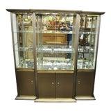 Image of Design Institute of America Brass & Bronze Mirror Display Case Cabinet Curio For Sale