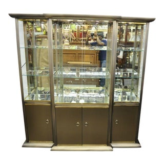 Design Institute of America Brass & Bronze Mirror Display Case Cabinet Curio For Sale