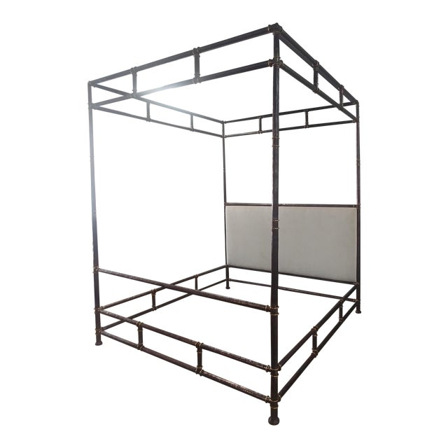 Henredon Furniture Jeffrey Bilhuber Hammered Metal Bank St Queen Canopy Bed For Sale - Image 12 of 12