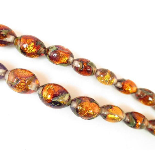 Venetian Fire Opal Foiled Glass Bead Necklace 1950s For Sale - Image 9 of 13