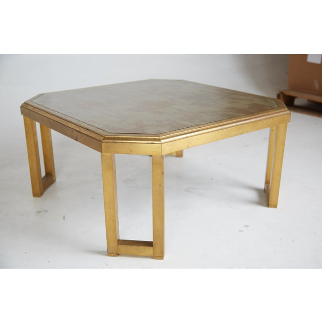1970 Willie Rizzo Style Marbled Glass & Brass Coffee Table For Sale In Los Angeles - Image 6 of 7