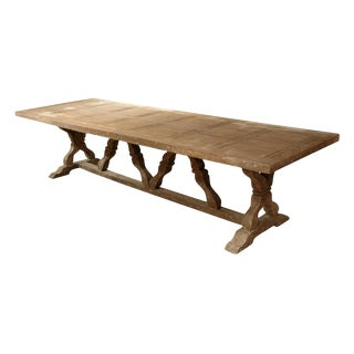 French Country Farmhouse Trestle Dining Table For Sale