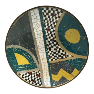 1970s Concave Mosaic Tile Plate With a Brass Base For Sale