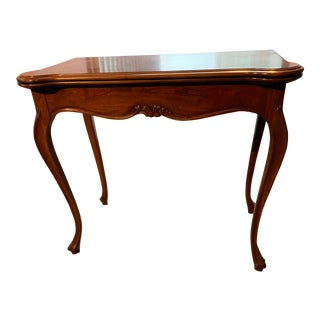 1980s Queen Anne Burled Wood Flip-Top Convertible Console Table For Sale