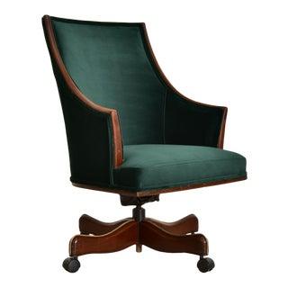 Antique Green Velvet Executive Desk Chair For Sale